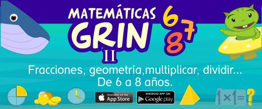 App Matemáticas Grin II 6 años 7 años 8 años